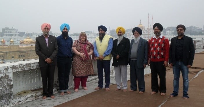 Local lobbyists for Ancient House at the Golden Temple before meeting the SGPC President