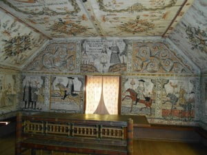 Elaborately painted interior of farmstead at Skansen Open Air Museum, Stockholm. Courtesy of Lindsay Moreton.