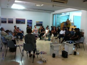 Natasha Howes and Clare Gannaway meet artists and Karachi Biennial team at VM Gallery, Karachi