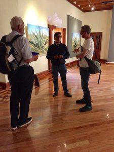 Antonio Morales Aldana, talking to Royal Cornwall Museum staff at the Museo Casa Grande (UAEH), Real del Monte