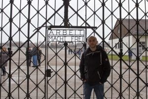 Outside the infamous gates at Dachau Concentration Camp