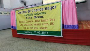 Welcome banner at the Institut de Chandernagore ©Leeds Museums & Galleries, photographed by Lucy Moore