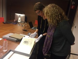 The Director of the Dali museums, Montse Aguer, and curator Carme Ruiz in the Foundation archive
