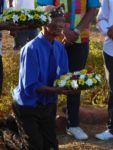 South African Khoe-Sān elder and leader Petrus Vaalbooi performing traditional ceremony of reconciliation and mourning at grave of El Negro